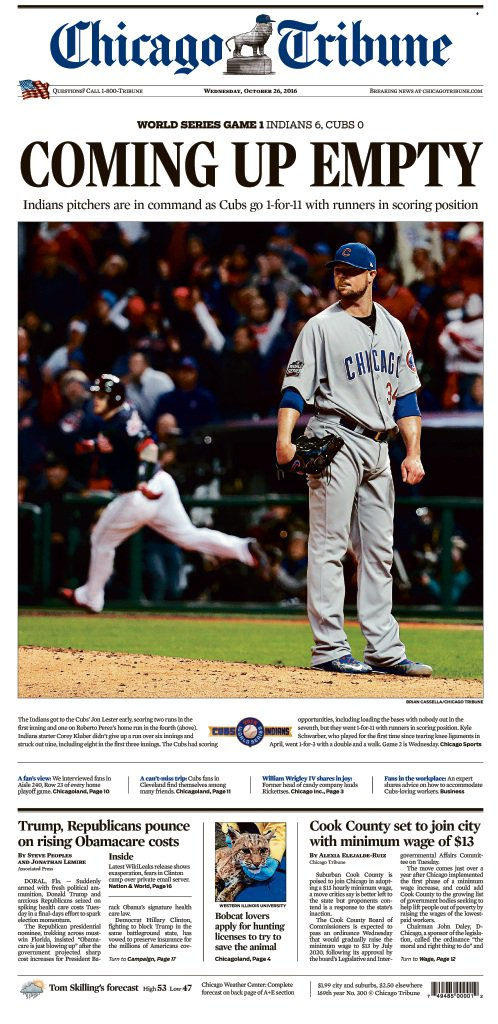 Here's an early look at Wednesday's front page with WorldSeries Game 1 coverage. More at