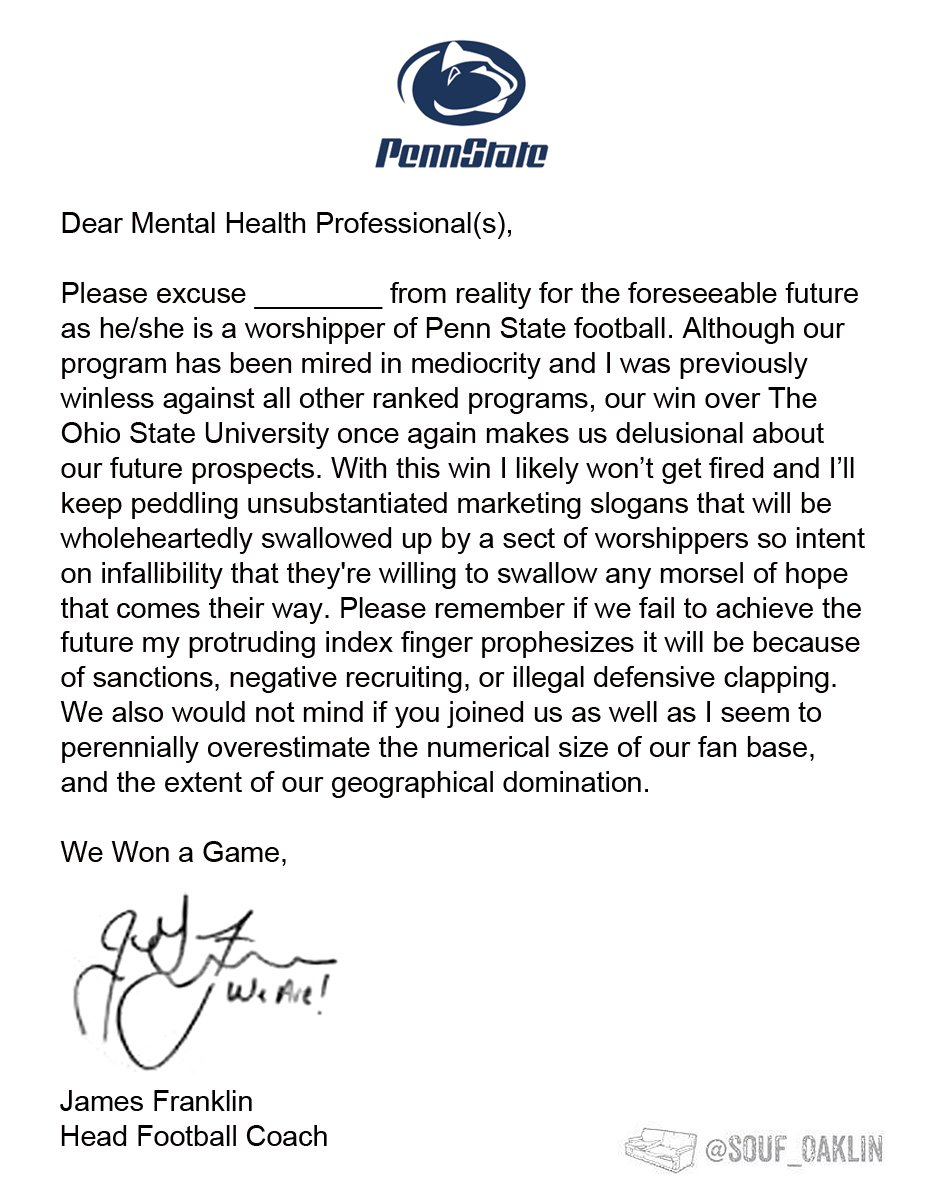 "Not to be outdone by Pat Narduzzi, James Franklin creates his own ""excusal letter"" to Penn State fans. https://t.co/5NRLsDUn5M"