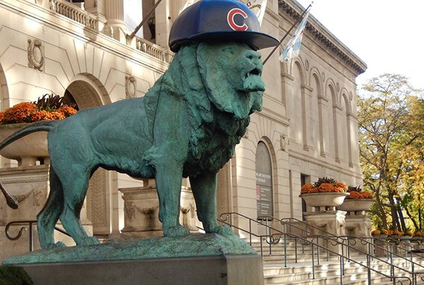 The Art Institute lions are finally showing their @Cubs pride!