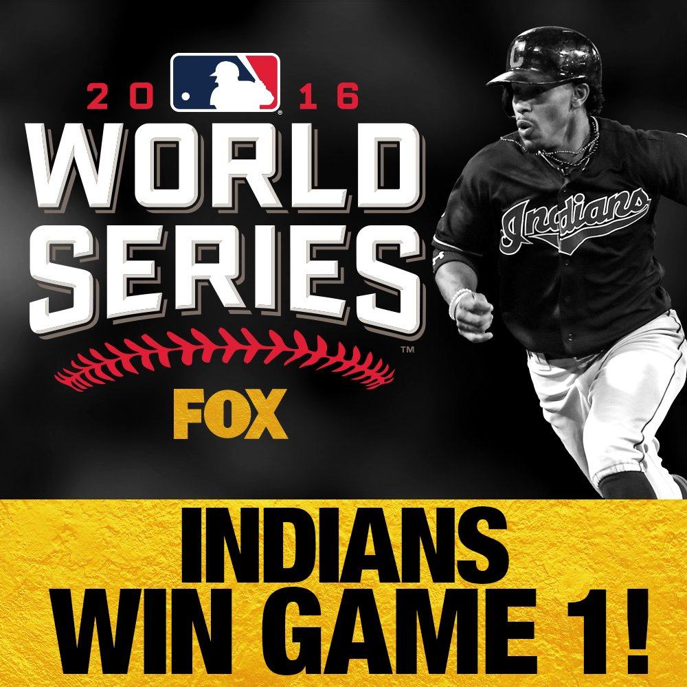 Indians take Game 1 of the World Series with a 6 - 0 win over the Cubs!
