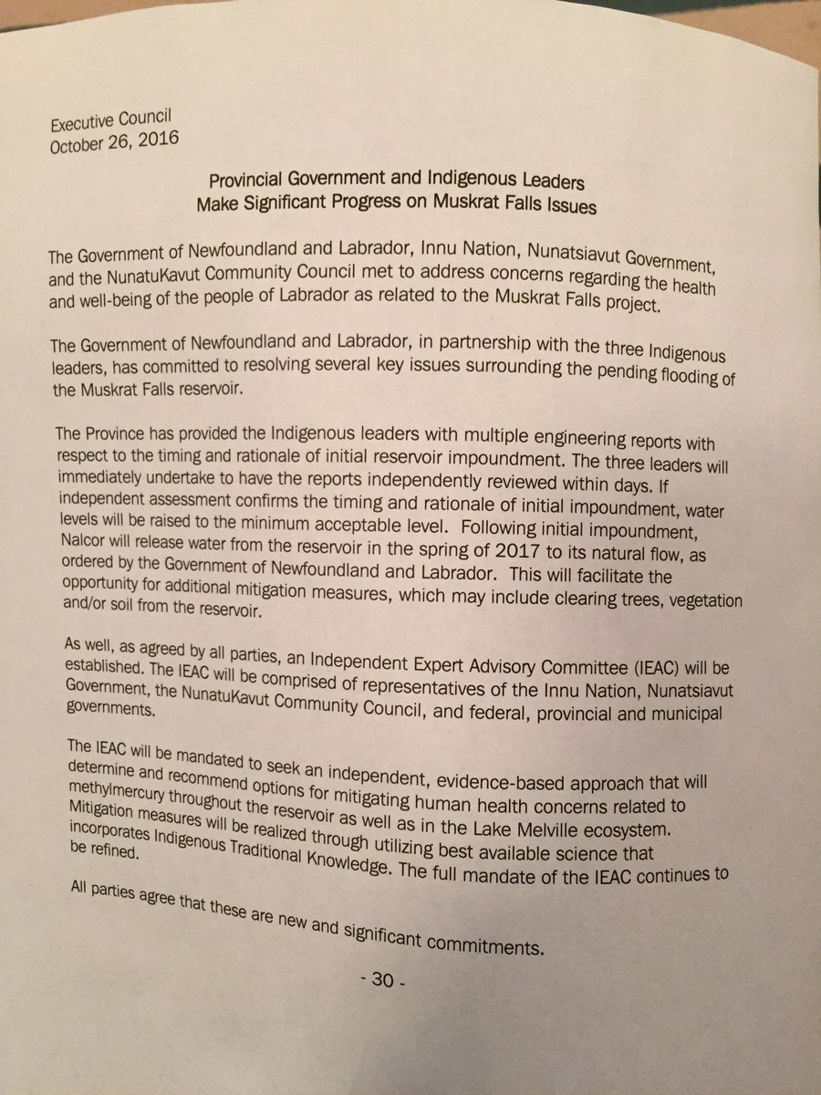Here's the full text of the statement after meeting on Muskrat Falls #nlpoli https://t.co/CHA4VUKvm5