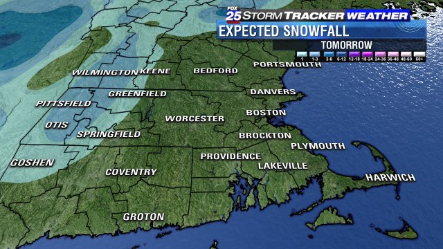 SNOW in the Berkshires & parts of western Mass tomorrow. Timing out those rain/snow shower on fox25 now!