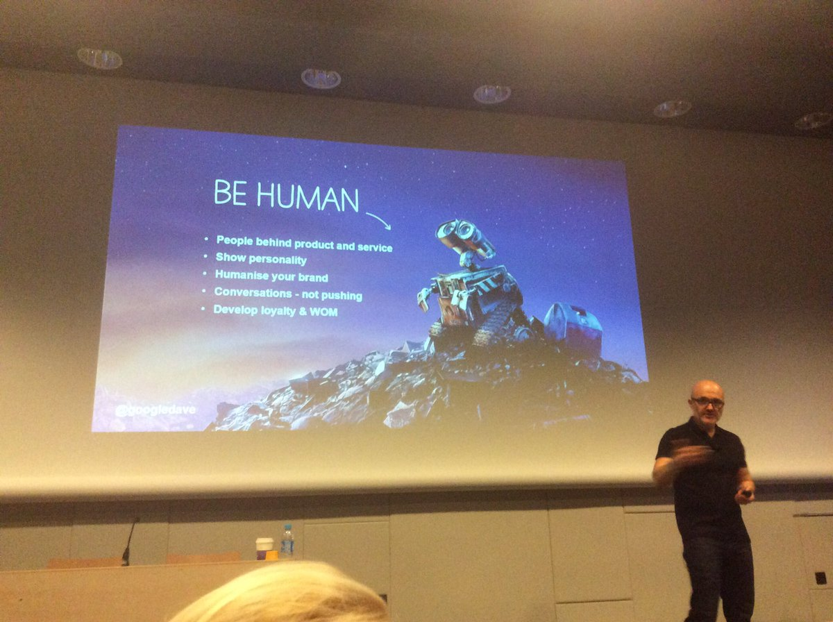 """People trust people, not brands"" - @googledave on the power of brand advocates on social media #hrtechworld https://t.co/WfAHHPqJp0"