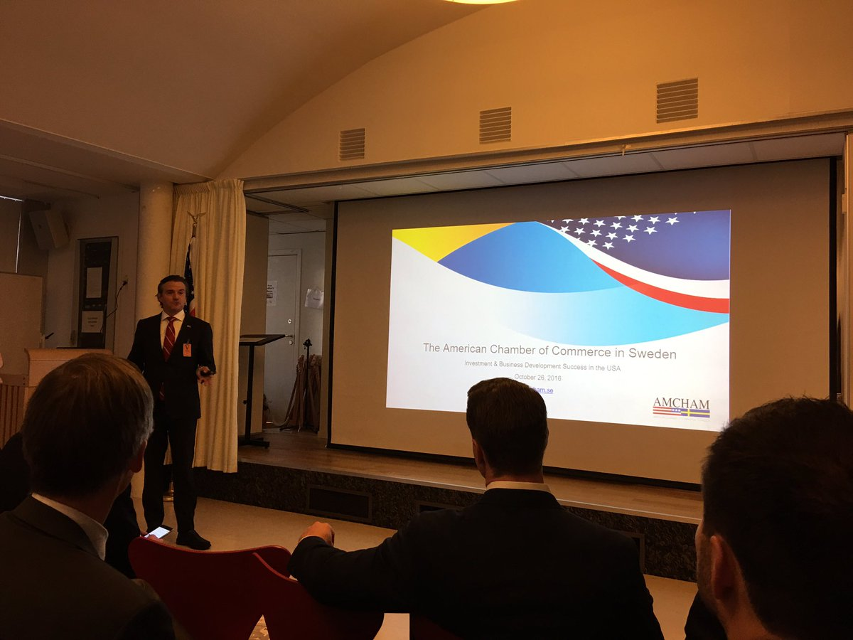 Impressed by the possibilities of investment in the US presented by #case @AmChamSweden today at the American Embas… https://t.co/vfeLTaFBL2