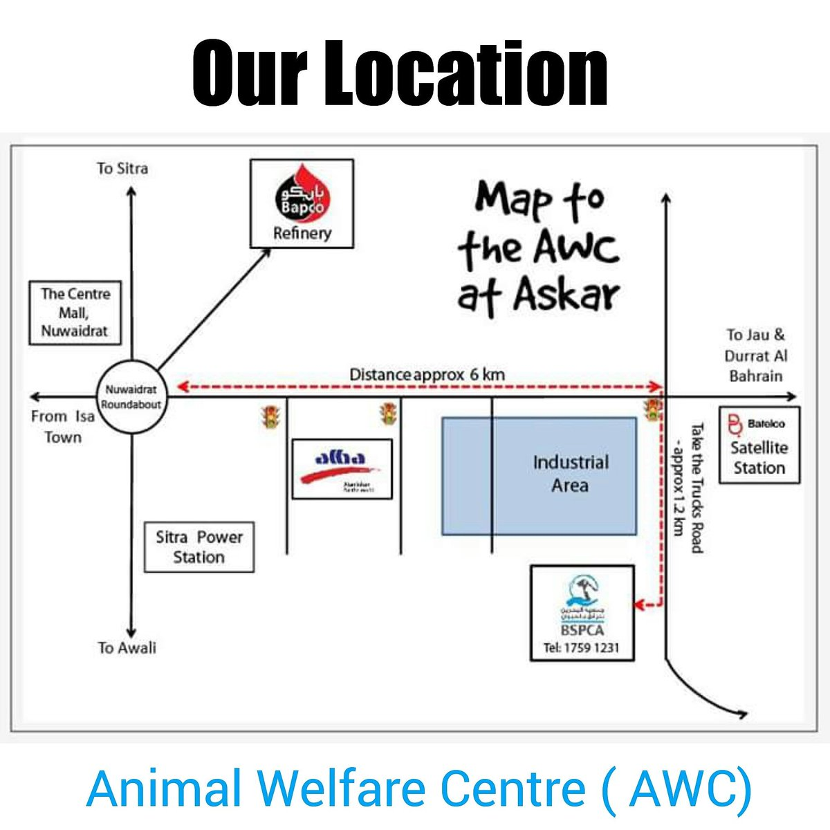 Map To Our Animal Shelter In Askar In The Industrial Area Of Manama Bahrain