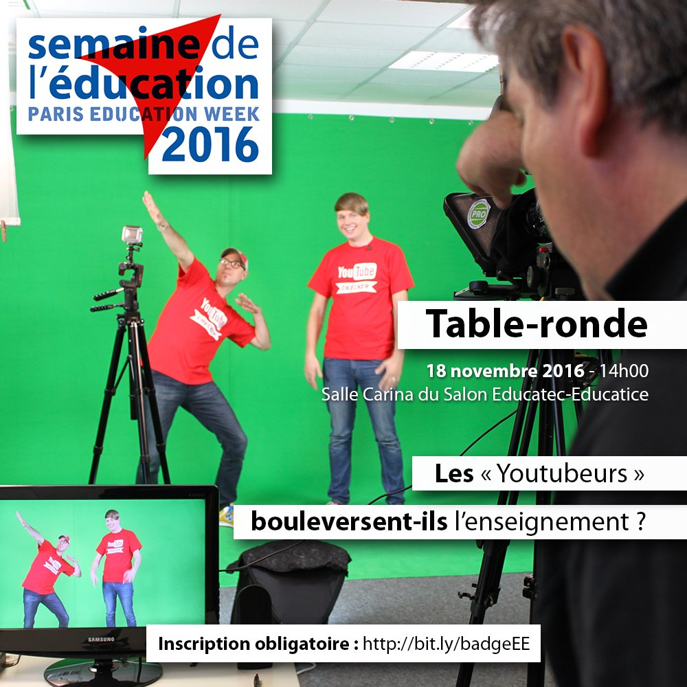 Les Youtubeurs bouleversent-ils l'enseignement ? RDV le 18 nov à #educatectice pour en débattre : https://t.co/6cpkkzSgbq   #ParisEdWeek https://t.co/FPBDzRGdrM