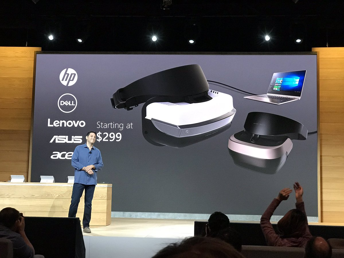 New $300 VR headsets from Windows PC OEMs @hp, @dell, @lenovo. Oh my. #MicrosoftEvent https://t.co/pONtR1KvX6