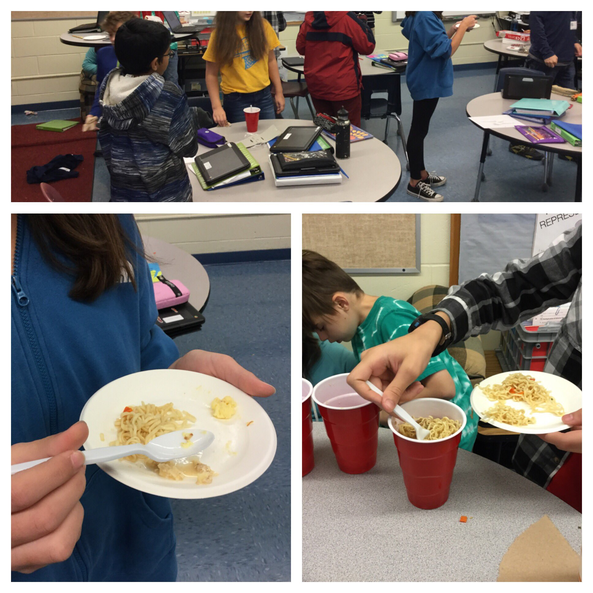 1st period 6th grade math sampling the food they rehydrated and calculated percent change for. #yum #wsdvt #vted https://t.co/Gc64YTFzRN