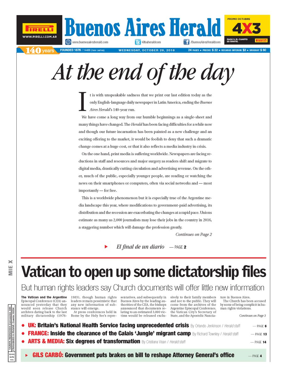 At the end of the day. Our editorial today is about our final edition as a daily newspaper. https://t.co/rtSpFooLhF https://t.co/gz9cCI42Nf