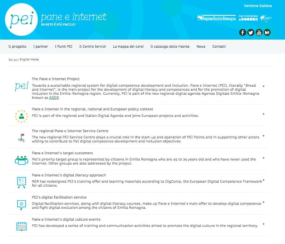 la versione in lingua inglese del sito di Pane e Internet