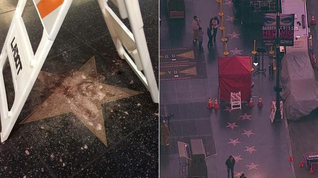 @realDonaldTrump's star on Hollywood Walk of Fame vandalized