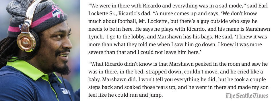 Seahawks share memories of Marshawn Lynch. Read the full story by @jaysonjenks