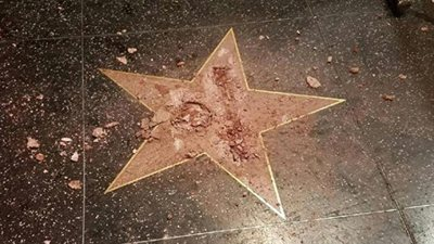 @realDonaldTrump WalkOfFame star vandalized with a sledgehammer