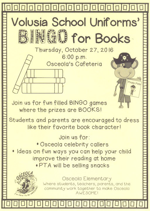 We are honored to sponsor one of the BEST events of the Year @OsceolaElem #BingoForBooks on Thursday Oct. 27th @ 6pm #AWESOMEOsceola<br>http://pic.twitter.com/cdhTmdyX8z
