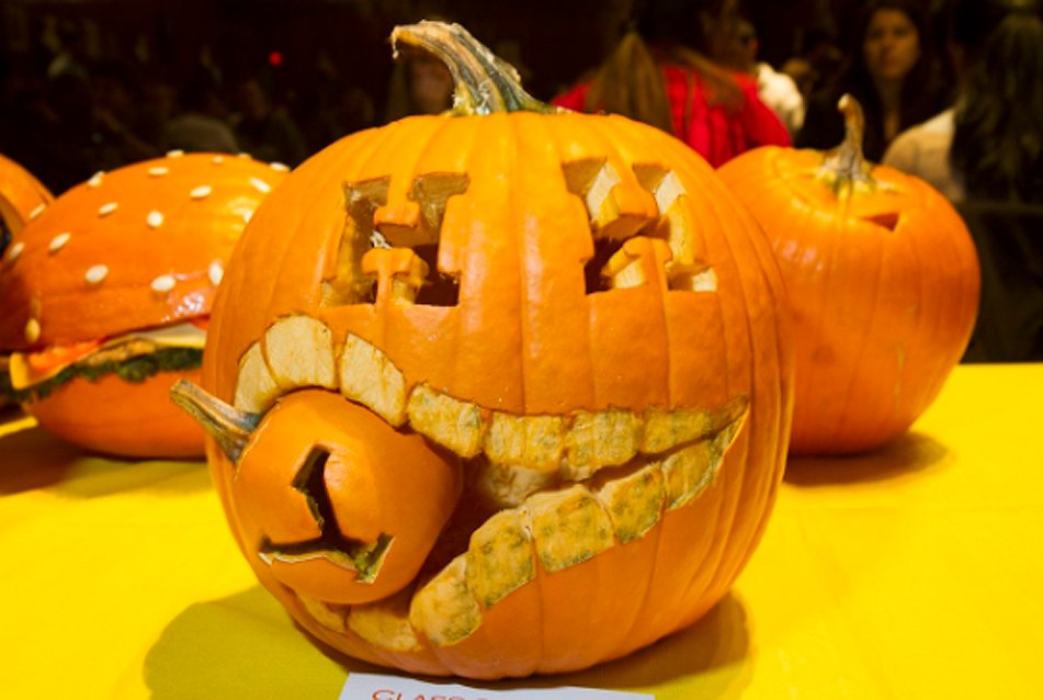 Harvard wants to crush Yale in next month's game, as demonstrated by this pumpkin
