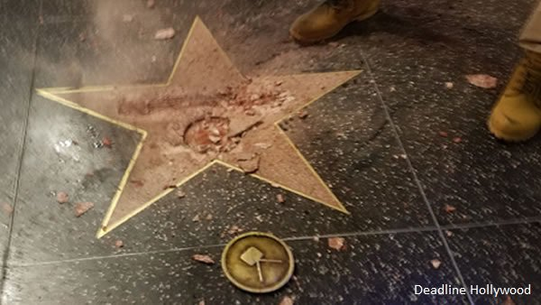 DonaldTrump's Walk of Fame star was smashed to bits by a pickaxe-wielding man