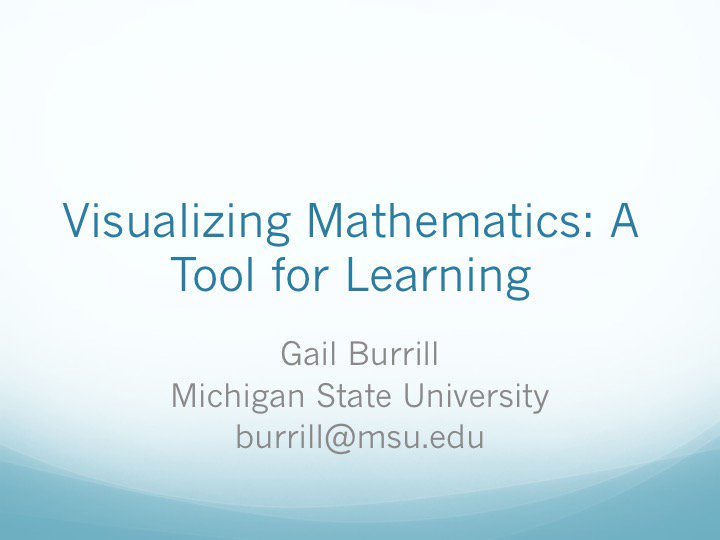 Batting second tonight in our @NCTM #presIgnite lineup at #NCTMRegionals will be @GailBurrill: Visualizing Mathematics: A Tool for Learning https://t.co/cVwkzsYidB