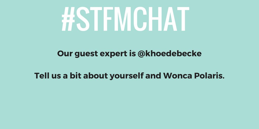 Hello everyone and welcome to the #STFMchat! Introduce yourselves to @khoedebecke. https://t.co/MIAU9b6xGN