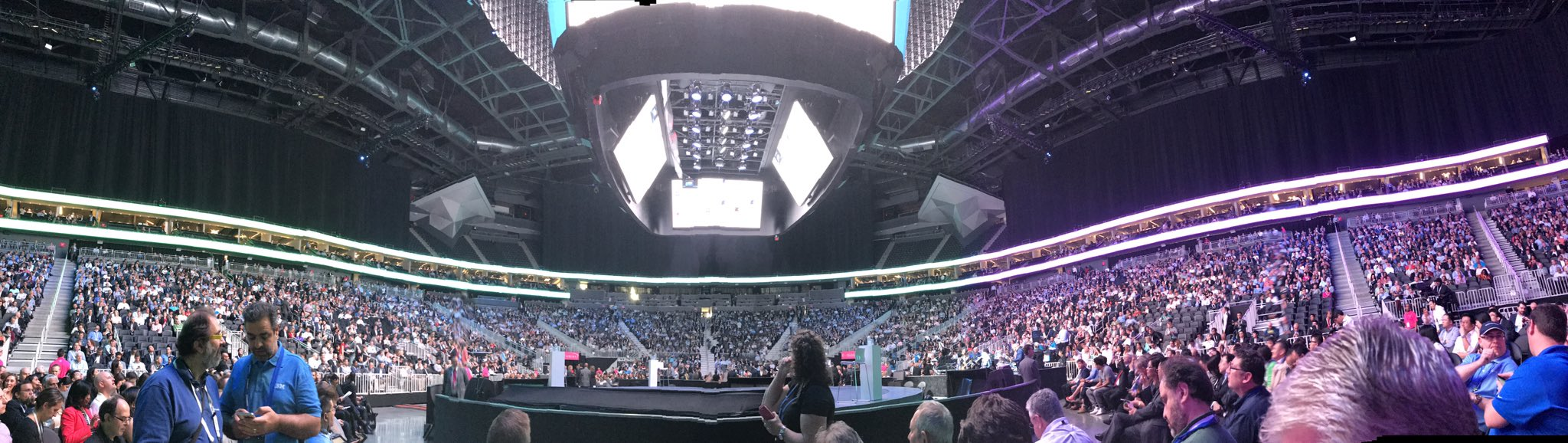 Not your Dads IBM!  Nirvana playing for CEO of @IBM Ginni's keynote at the @TMobile arena....  #ibmwow #WatsonMarketing https://t.co/ixwLtd594X