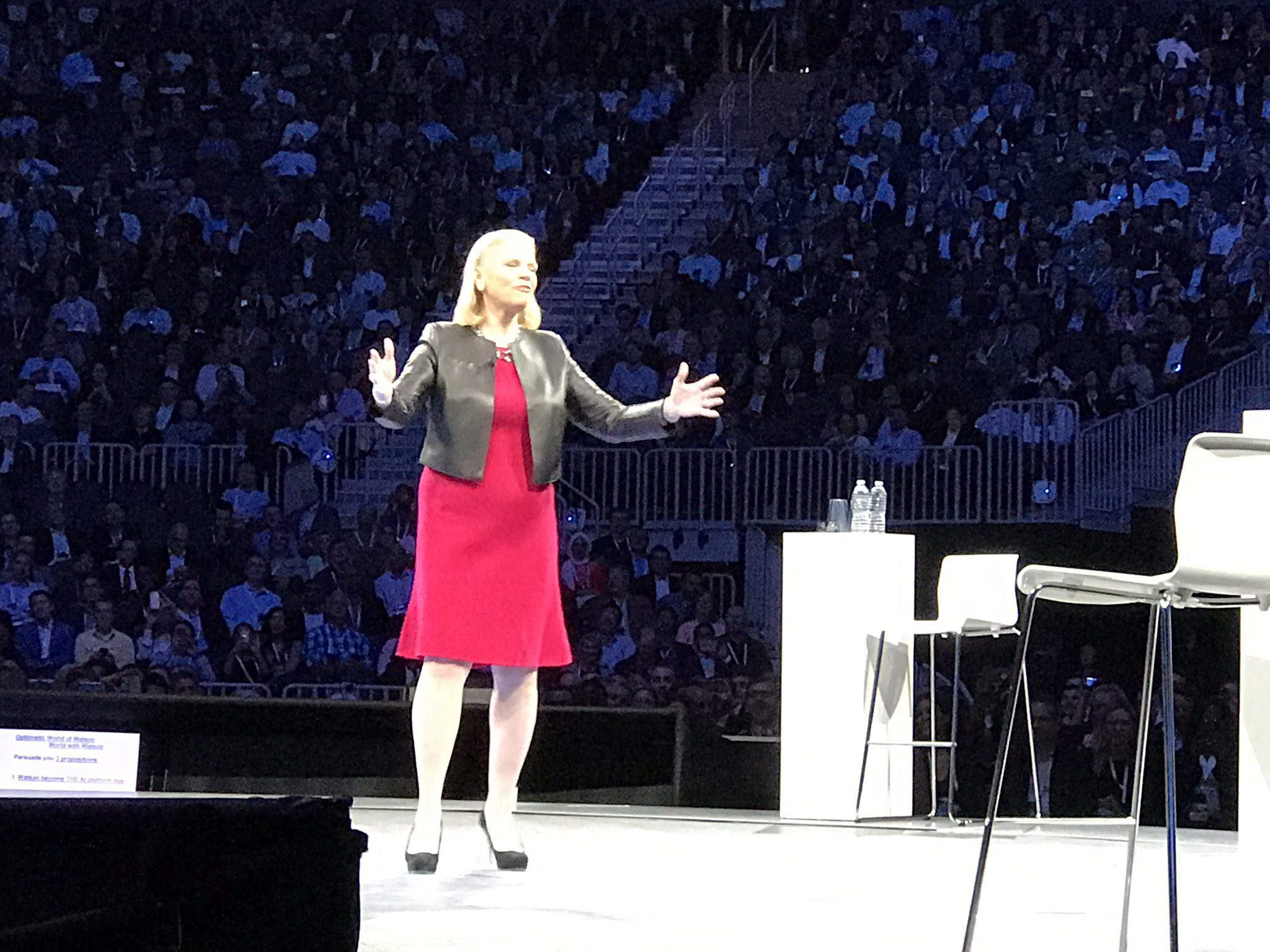 """Now @GinniRometty saying how #ai will make us """"smarter, safer, more secure, more productive."""" Expect """"memorable"""" talk. #ibmwow #ibmwatson https://t.co/OawxkJFNXQ"""