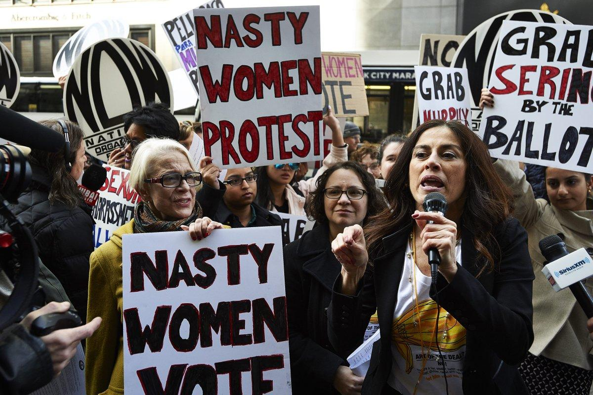 Women urge voters to 'grab Trump by the ballot' in New York City protest