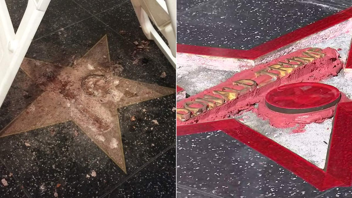Repairs underway after vandal destroys Donald Trump's star on Hollywood Walk of Fame