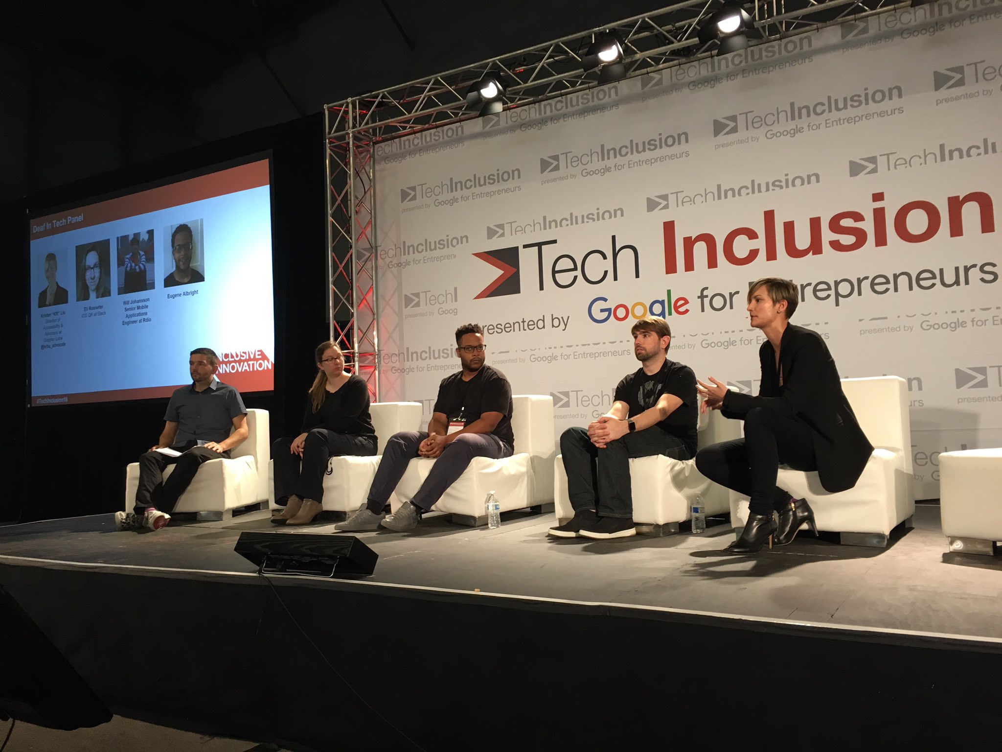 Great conversation happening at the Deaf in Tech Panel, including @krliu_advocate #TechInclusion16 https://t.co/EJRcGQrkE4