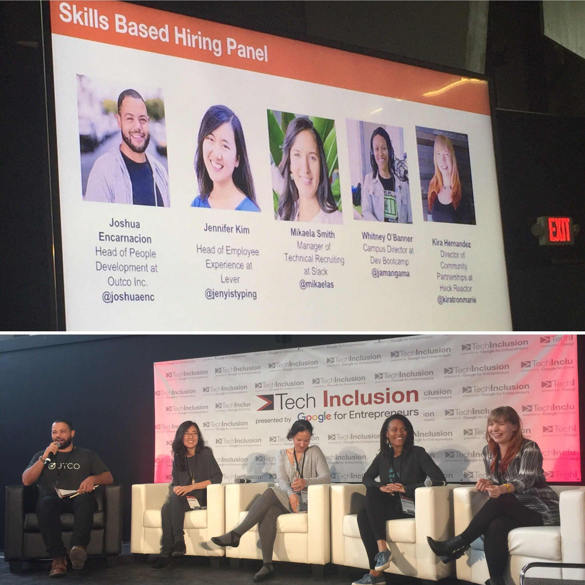 Skills Based Hiring Panel - feat. @joshuaenc @jenyistyping @mikaelas @jamangama  @kiratronmarie #TechInclusion16 #TheSocialEngineer https://t.co/As9nsf1oGY