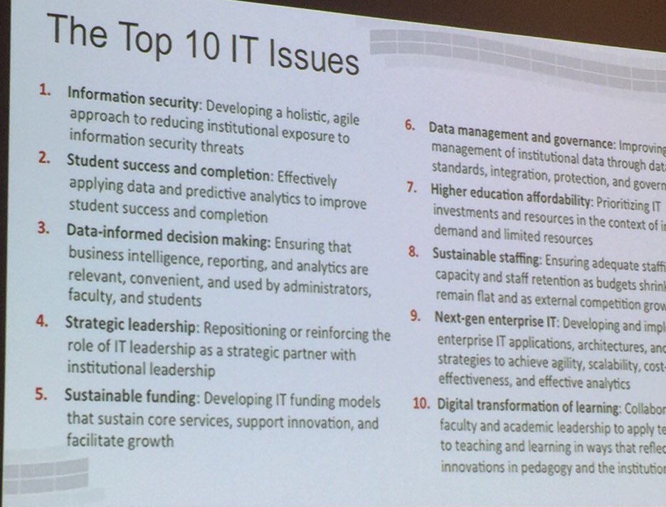 The #Top10ITIssues for 2017 #EDU16 https://t.co/mFOWj5v2If