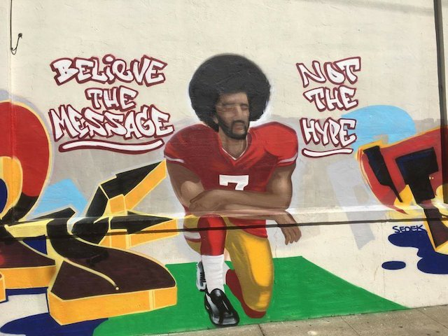 Colin Kaepernick mural painted over after neighbor complaints.