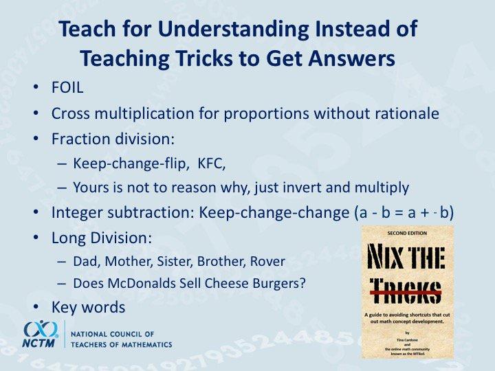 """Teach for understanding instead of teaching tricks."" ~ @dbriars references @NixTheTricks #NCTMregionals #PresIgnite https://t.co/YrS1SGAXZx"