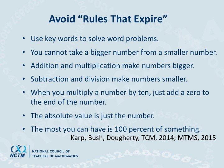 """""""Avoid rules that expire."""" ~ @dbriars #NCTMregionals #PresIgnite https://t.co/bgeCTB0YGg"""