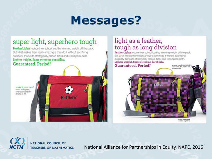 Wow. What are the implicit messages we are sending about mathematics! via @dbriars #NCTMregionals #PresIgnite https://t.co/wo79MSL7G1