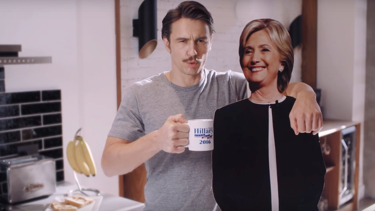 James Franco endorse Hillary Clinton's cardboard cutout: @JamesFrancoTV