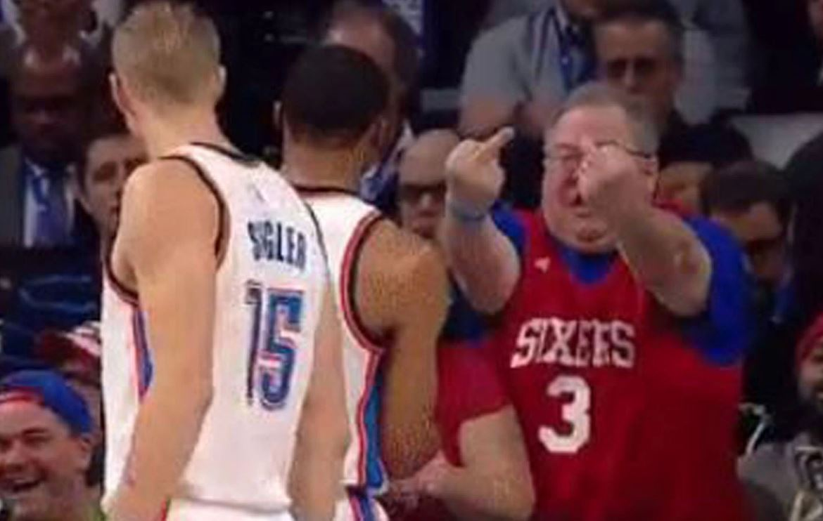 Go figure... Russell Westbrook gets the double middle-finger treatment from 76ers fan