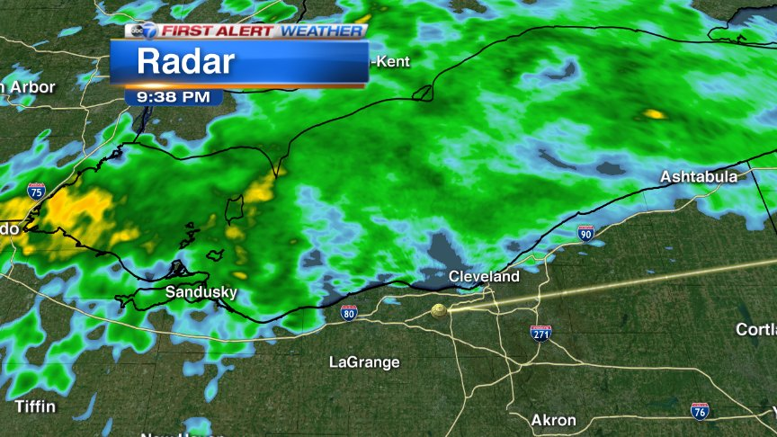 Heaviest rain staying north of Cleveland. Looks like we will get the rest of this game in Cubs
