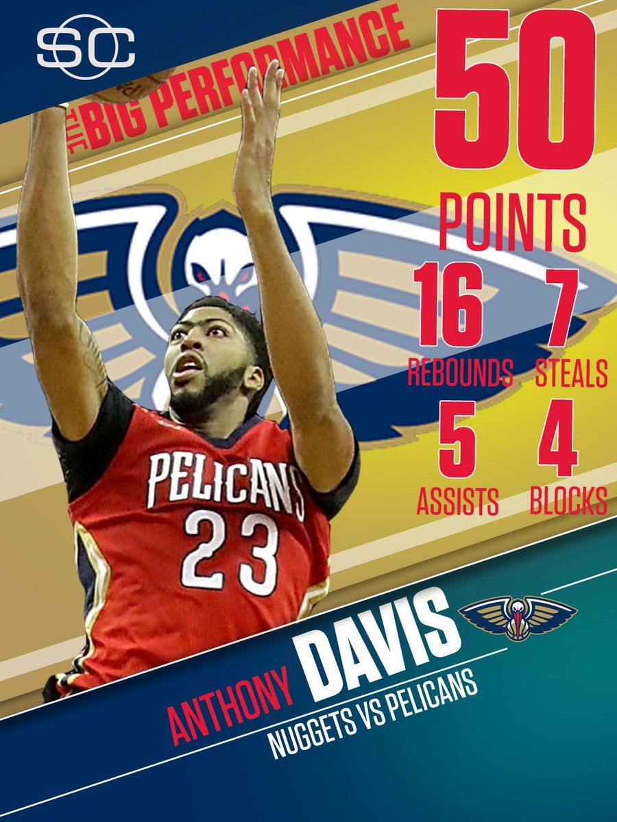 Anthony Davis had a historic night! He's the 1st player in ANY GAME since 1973 with at least 45 Pts, 15 Reb, 5 Ast and 5 Stl.
