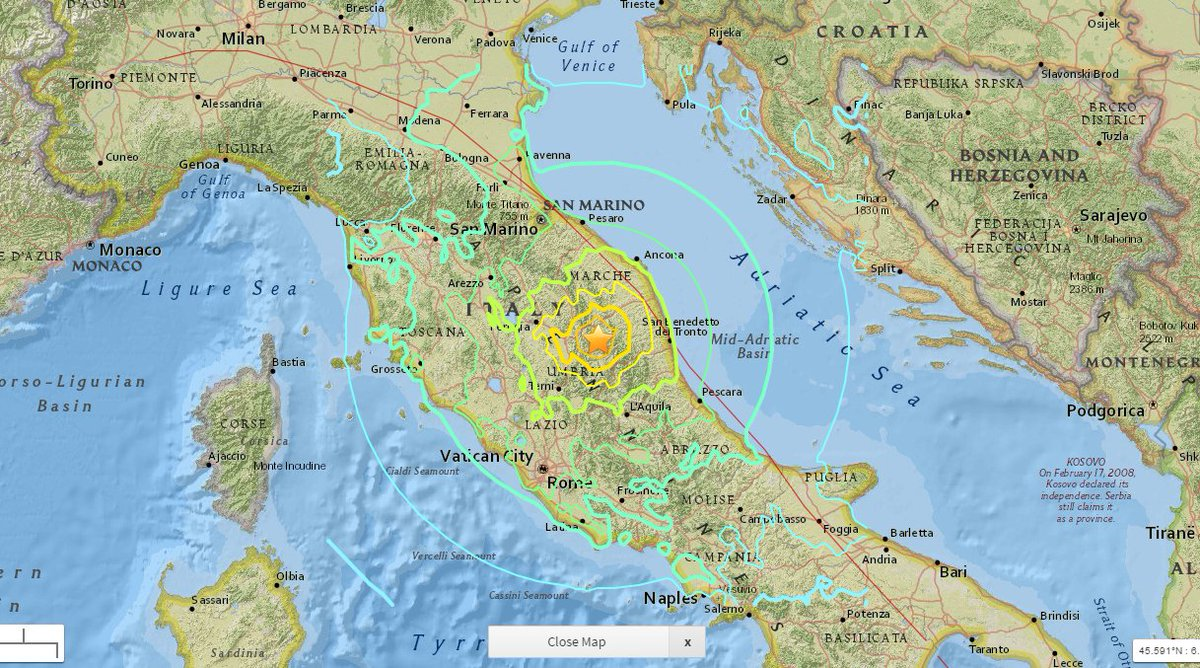 Italy in US on Twitter Interactive map of Italy by USGS shows