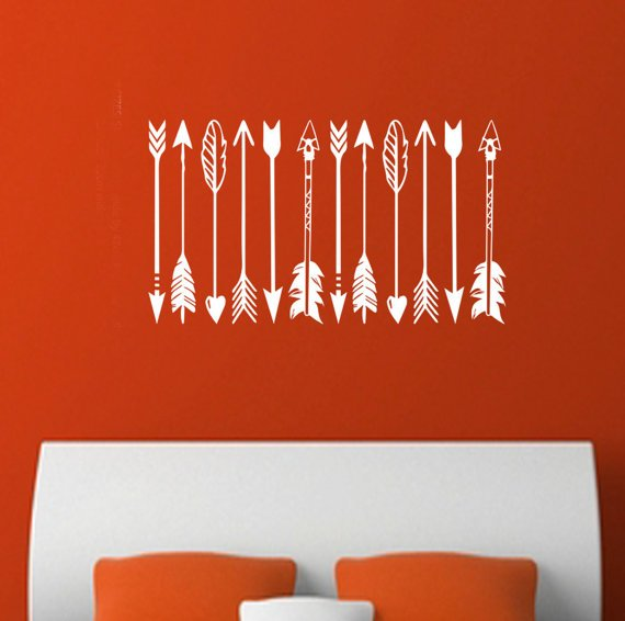 WallArts Tribal Feather Arrows Trendy Vinyl Matt Wall Decal Sticker DIY Feather