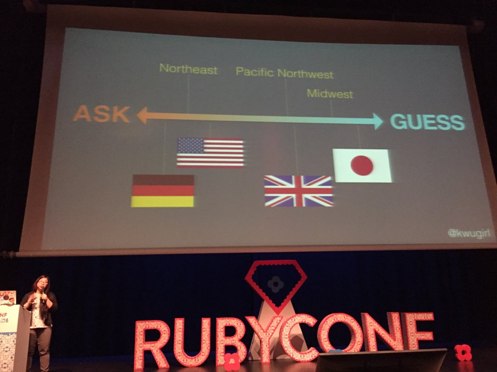 Ask vs guess cultures by @kwugirl at #rubyconfpt https://t.co/dJtOMqgh4g