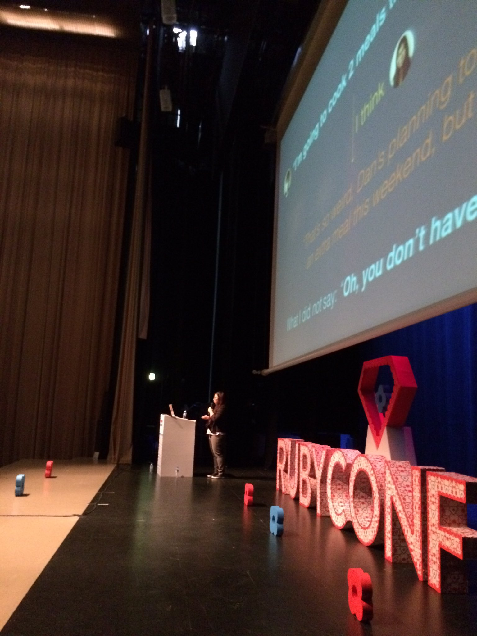"Coffee-break over, time for the awesome @kwugirl talk ""Ask vs Guess Culture Communication"" #rubyconfpt https://t.co/09NcTqXzr2"
