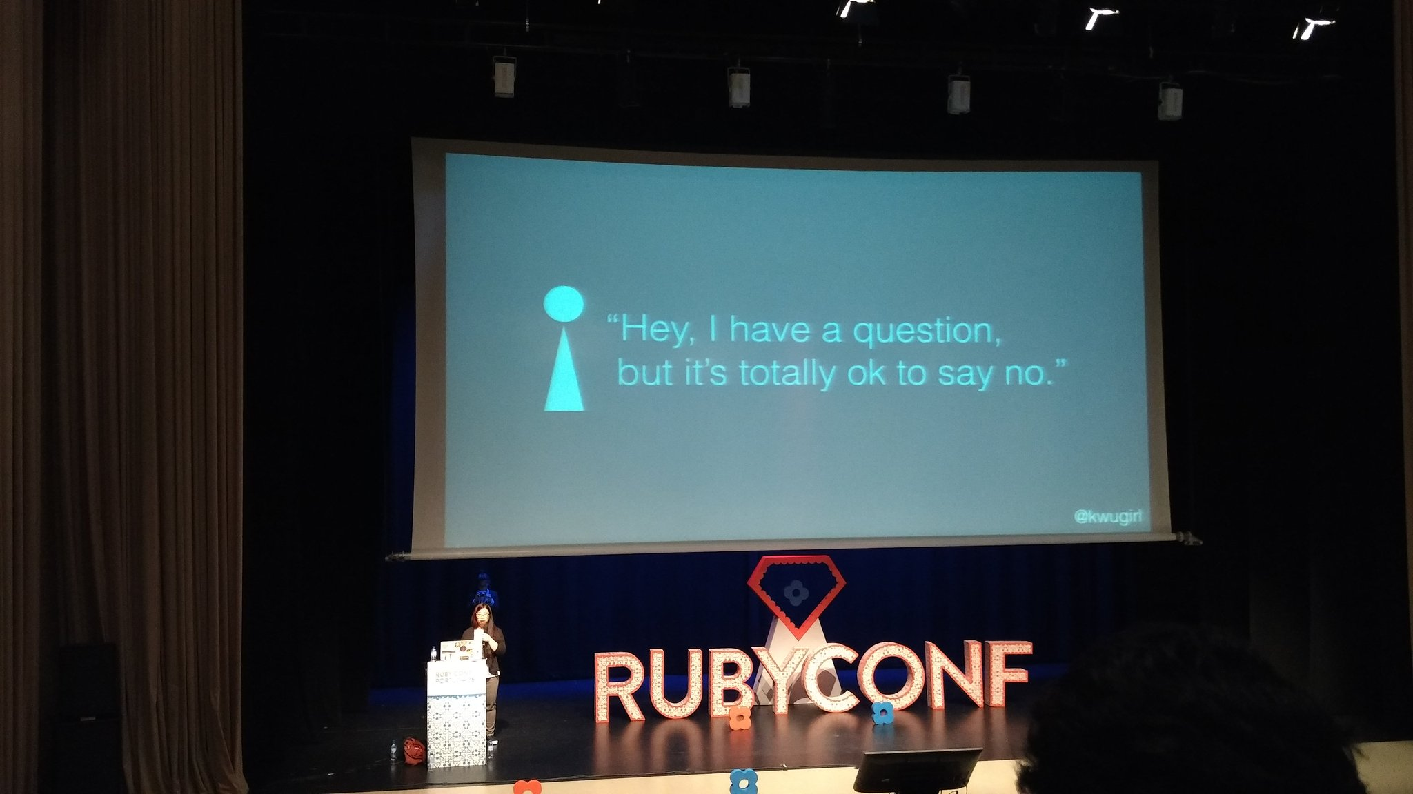 .@kwugirl up on stage at @rubyconfpt talking about ask vs. guess culture and some helpful tips! https://t.co/Rz0epU66Er