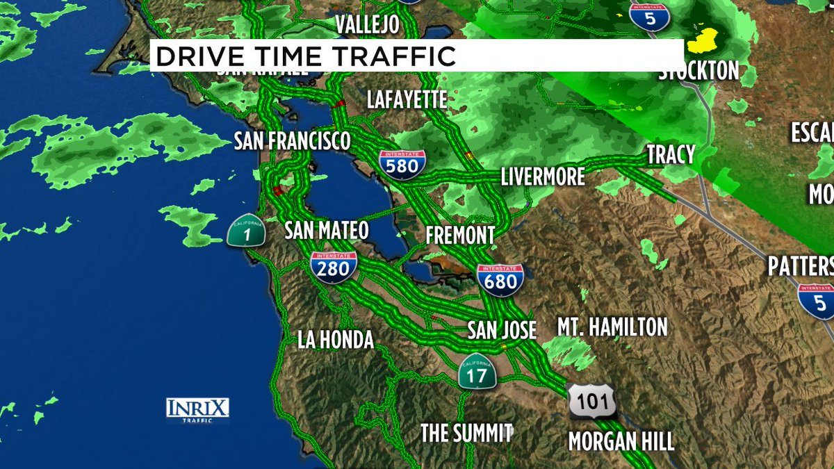 Live Doppler 7 on top of my traffic maps- scattered showers for this morning's commute, ramping up throughout day.