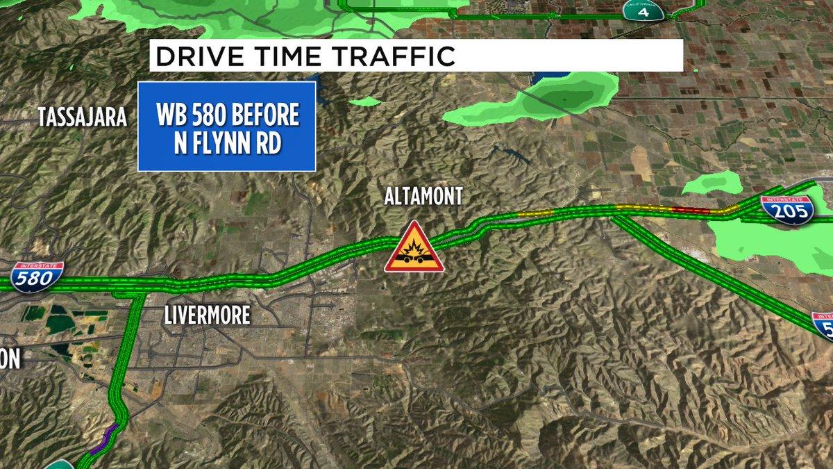 Not good! 5 car crash just happened on WB 580 before N Flynn Rd, left lane blocked, possible injuries.