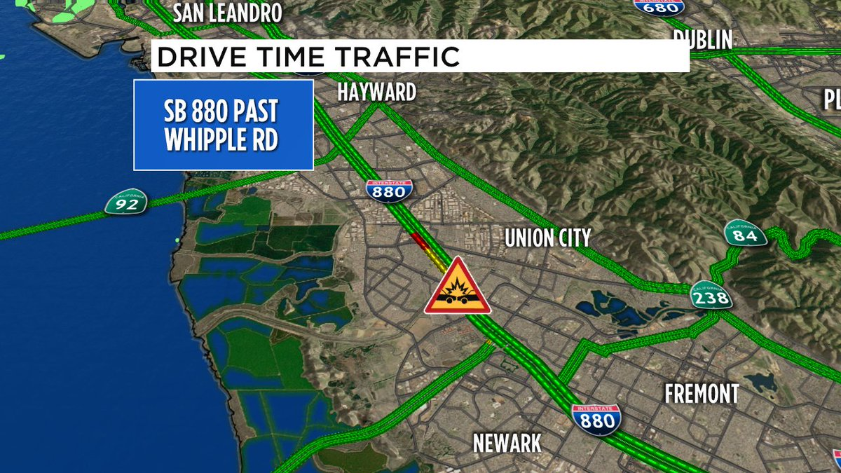 SB 880 just past Whipple Rd- collision blocking 3 left lanes. Fire dept on scene, more emergency response on way.