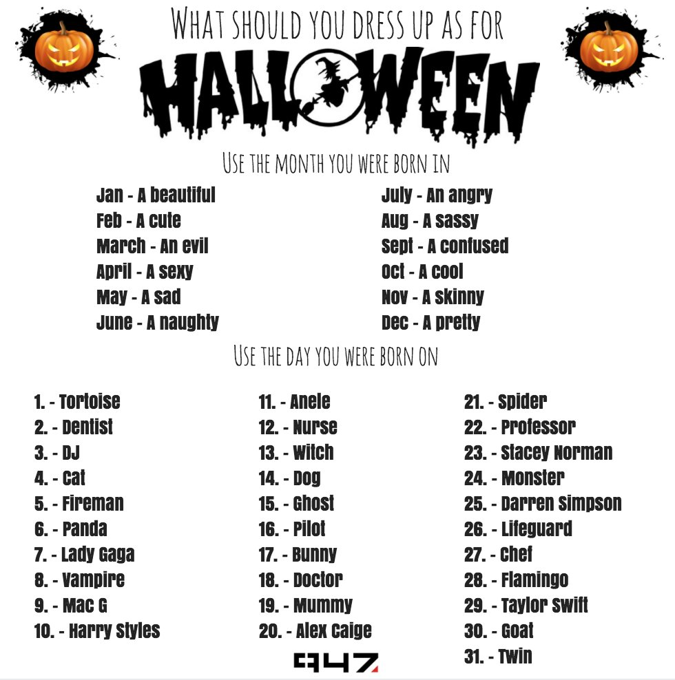 """947 on twitter: """"what should you dress up as for #halloween? tell us"""