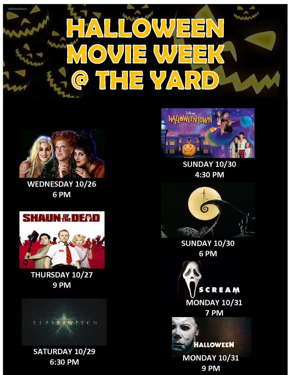 the yard on twitter halloween movie week the yard full schedule here theyardru happyhalloween scarymovies outdoormovies rutgers newbrunswick