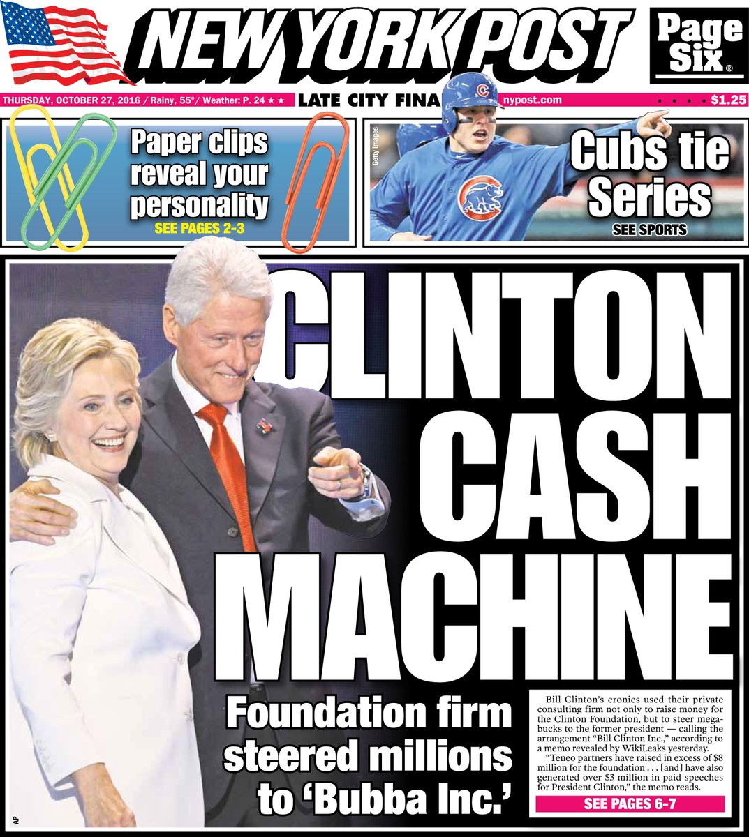 Today's cover: Clinton cronies steered millions to foundation — and Bill's wallet