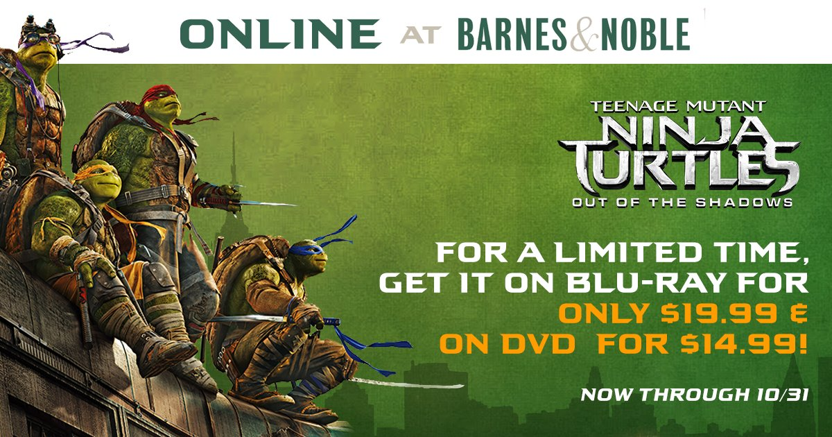 What a sweet deal! #TMNT2 is on sale online NOW at @BNBuzz, through 10/31. Get your copy today! bit.ly/2eTcZQ0