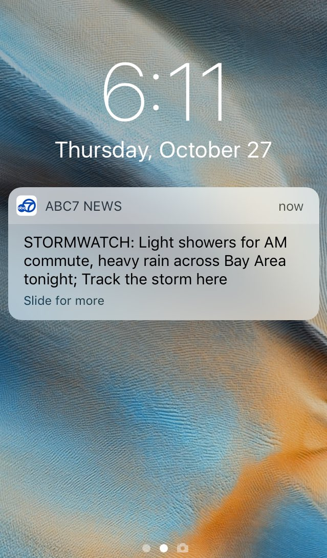 Thanks for the heads up ABC7 News App! Luckily I have on my ABC7 News jacket.